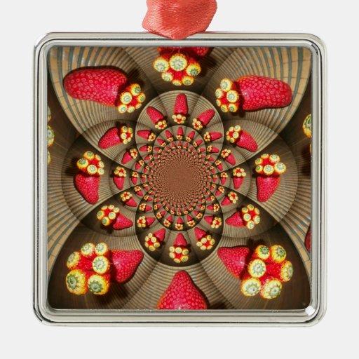 STRAWBERRY VINTAGE RED Premium Square Ornaments