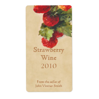 Strawberry wine bottle label shipping label