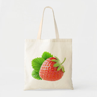 Strawberry with leaf budget tote bag