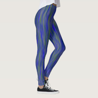 Streaked Blue and Green Ombre Leggings