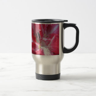 Streaked tulips with droplets in spring travel mug