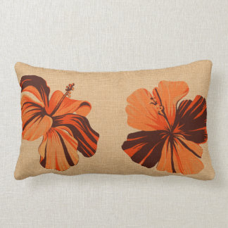 Streaky Hawaiian Hibiscus FauxLinen Lumbar Pillows