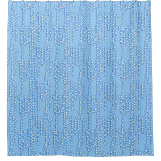 Stream of bubbles, shades of light blue shower curtain