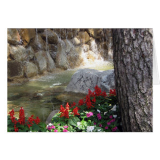 Stream with Red Flowers Greeting Card