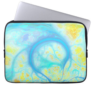 Streams of Joy – Cosmic Aqua & Lemon Laptop Sleeve