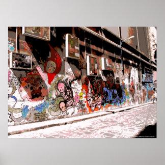 Street Art and Graffiti in Hosiers Lane, Melbourne Poster