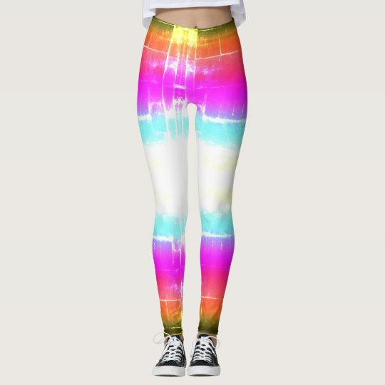 Street Art Blue Pink Orange Green Colourful Leggings