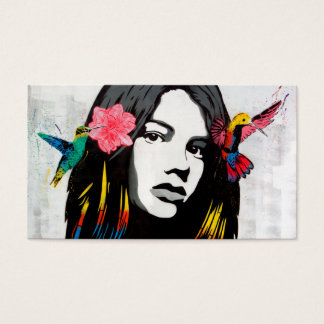 Street Art Graffiti Girl with Birds