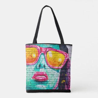 Street Art Mural Graffiti Art Woman in Glasses Tote Bag