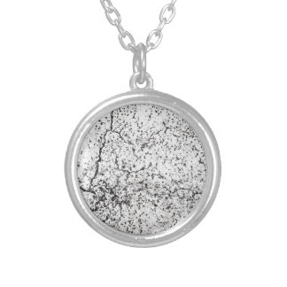 Street asphalt cracks texture silver plated necklace