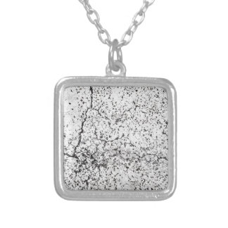 Street asphalt cracks texture silver plated necklace