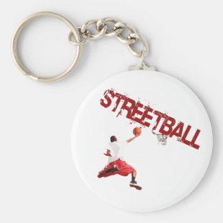 Street Basketball Dunk Basic Round Button Key Ring