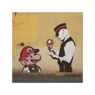 Street Grafitti Art Mario Style Canvas Gallery Wrapped Canvas
