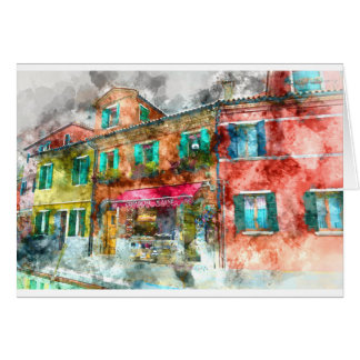 Street in Burano Italy near Venice Card