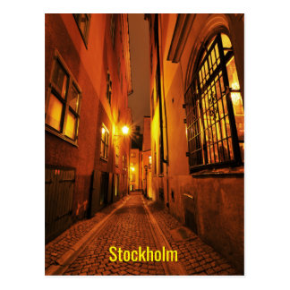 Street in Gamla Stan in Stockholm, Sweden at night Postcard