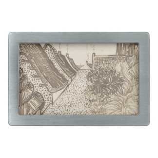Street in Saintes-Maries-de-la-Mer Rectangular Belt Buckles