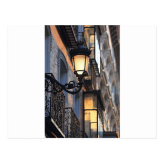 Street lamp in old town Madrid Postcard