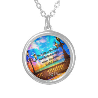 Street lamps at dawn silver plated necklace