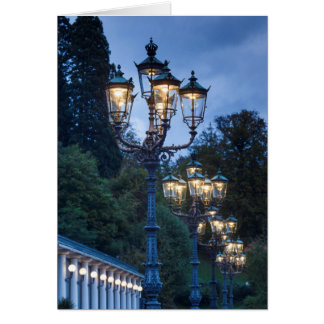 Street lamps at night, Germany Card