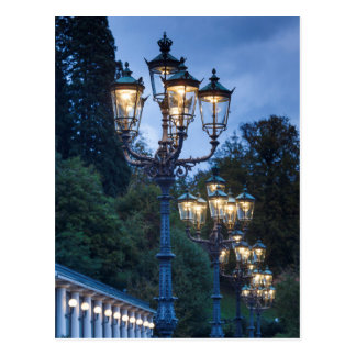 Street lamps at night, Germany Postcard