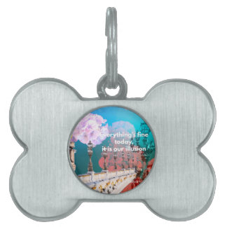 Street lamps flowers and message pet name tags