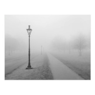Street lamps in the fog postcard