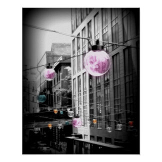 Street Light Globes Urban Art Poster