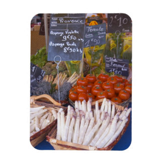 Street market merchant's stall with white rectangular magnets