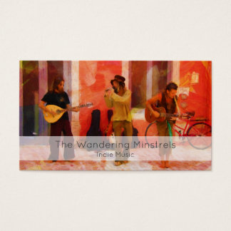 Street Musicians Playing Guitar Mandolin and Flute Business Card
