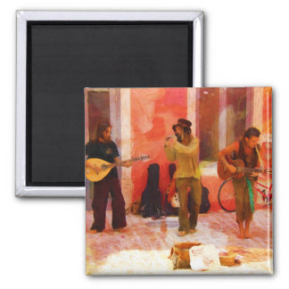 Street Musicians Playing Guitar Mandolin and Flute Magnet