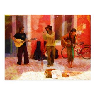 Street Musicians Playing Guitar Mandolin and Flute Postcard