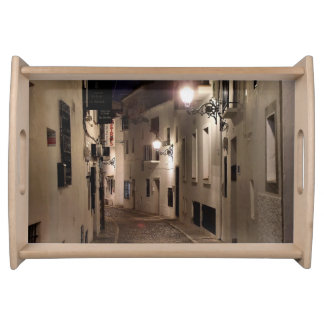 Street of Altea at night Serving Tray