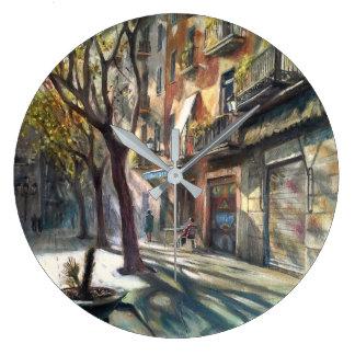 Street of Barcelona Large Clock