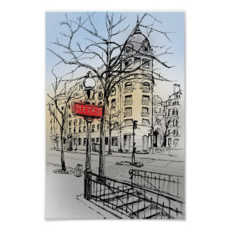Street of Paris hand drawn colored ink sketch Poster