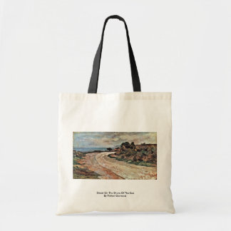 Street On The Shore Of The Sea By Fattori Giovanni Canvas Bags