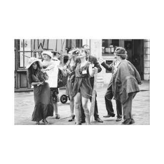 Street performers angry protest canvas print