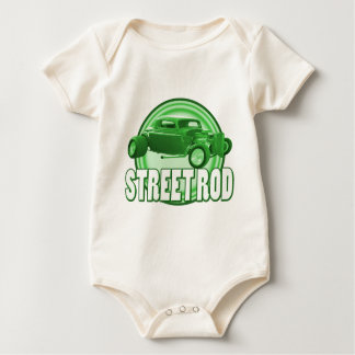 street rod with style in green baby bodysuit