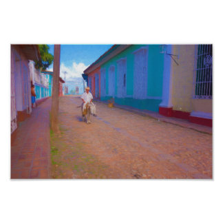 Street scene in Trinidad, Cuba poster