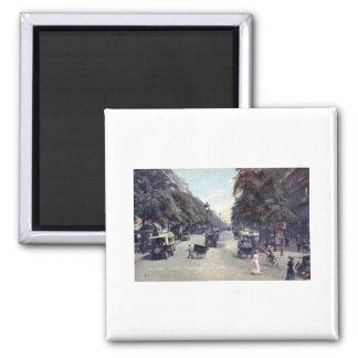 Street Scene, Paris, France c1915 Vintage Square Magnet