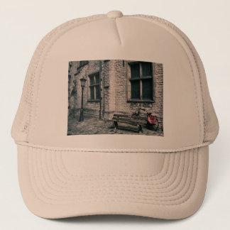 street scene with a bike trucker hat