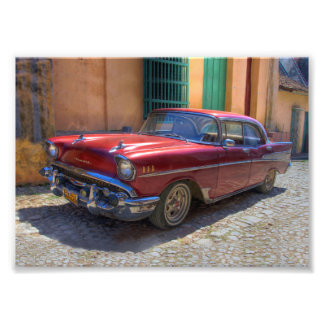 Street scene with old car in Havana Photograph