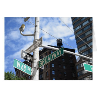 Street Sign Broadway W. 68th Upper West Side NYC Card