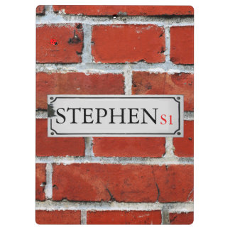 Street Sign on Brick Wall Personalize Clipboard