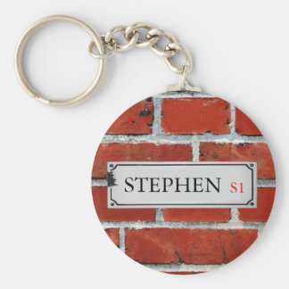 Street Sign on Brick Wall Personalize Key Ring