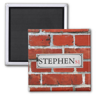 Street Sign on Brick Wall Personalize Magnet