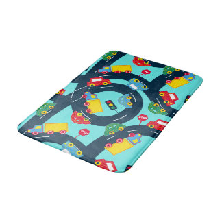 Street traffic bath mat