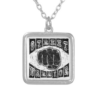 street warrior silver plated necklace