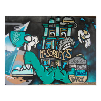 Streetart: crazy funny Irish coffee graffiti Postcard