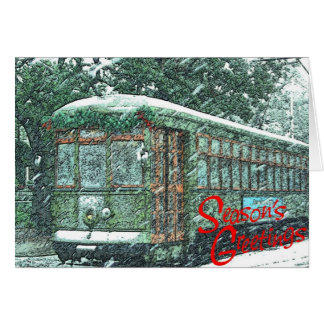 Streetcar In Snow Card