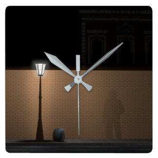 Streetlight and Bag Square Wall Clock